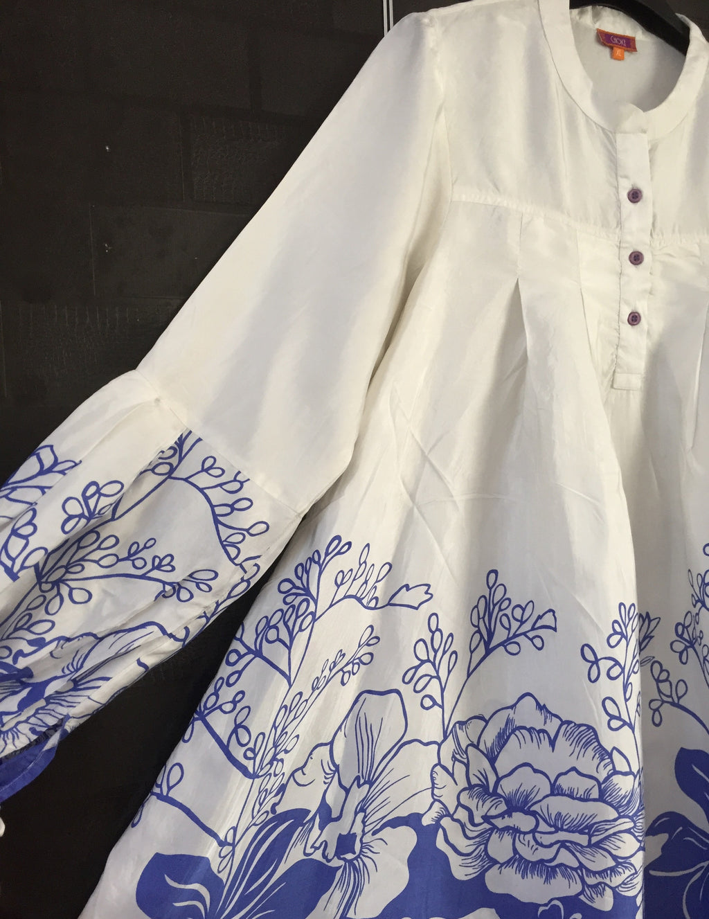 Little Shimmer - Blue and White Floral Dress with Fun Sleeves