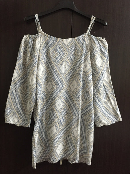 Long Off white, Cold Shoulder Top - Geometric Print