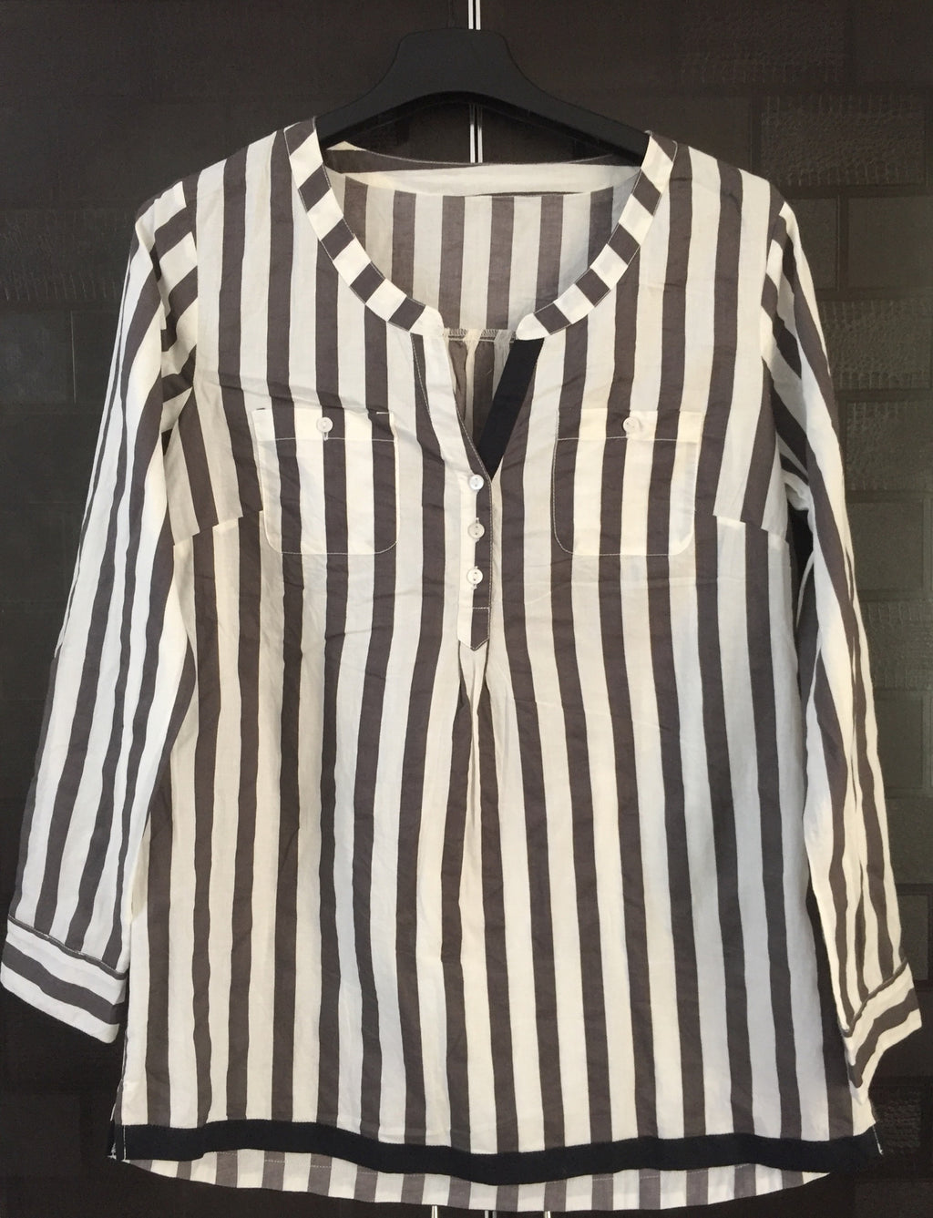 Stripes - Brown & White Casual Top
