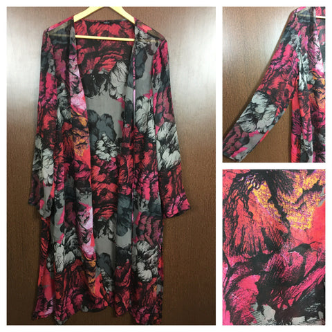Digital Printed Long Casual Shrug - Grey , Pink and Red