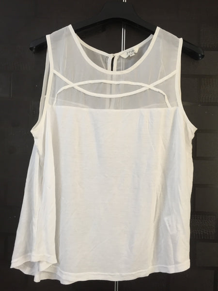 Simple white Sleeveless Top with 2 semi-arcs