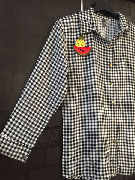 Checks - Little Checks, Grey, Black and Cream with Watermelon-Pineapple