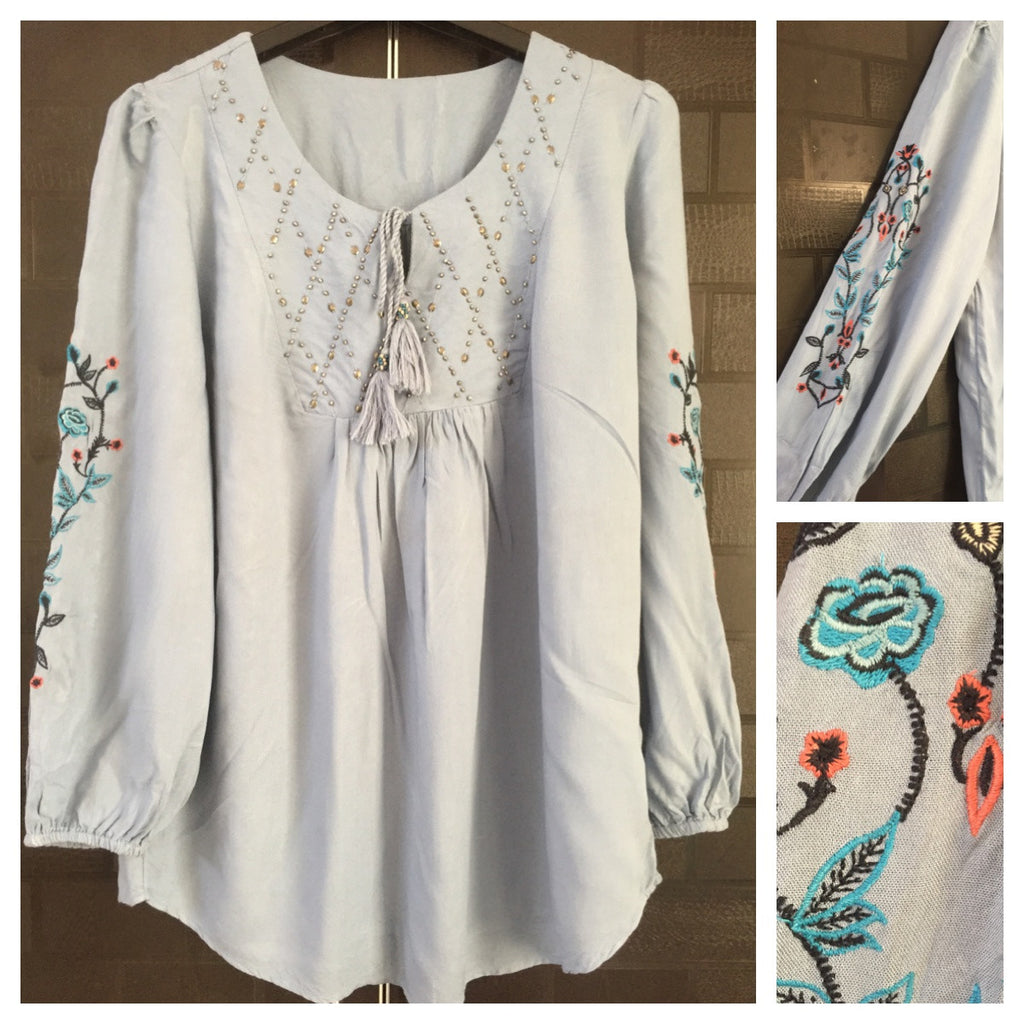 Greyish - Blue Comfy Fit top with colorful embroidery on sleeves