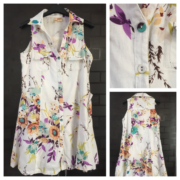 Front Buttoned, Sleeveless Floral Dress