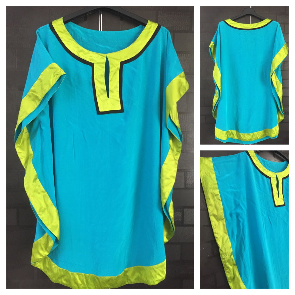 Little Shimmer - Vibrant - Blue and Green Long Kaftan Top
