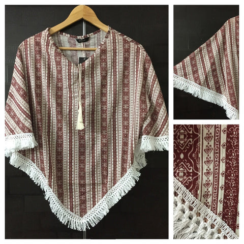Poncho Style Top - Vertical Prints on Light Brown Top with Tassels