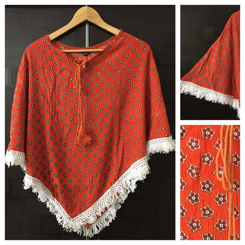 Poncho Style Top - Orange Flowers on Orange Top with Tassels