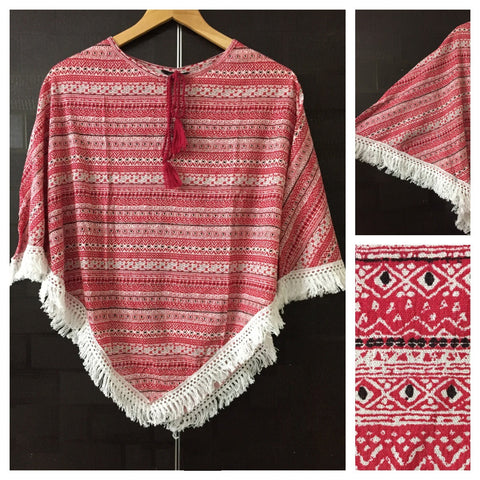Poncho Style Horizontal Prints - Red and Cream Top with Tassels