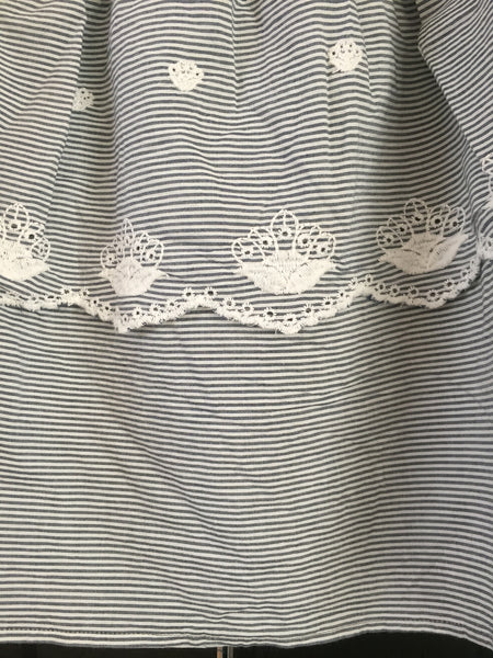 Off Shoulder - Horizontal Grey White stripes with white embroidery - Short On Off Shoulder Top