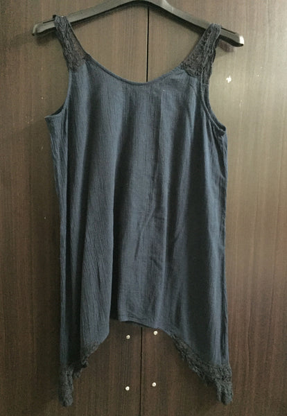 Blue-Black Sleeveless top - #FTFY - For The Fun Years