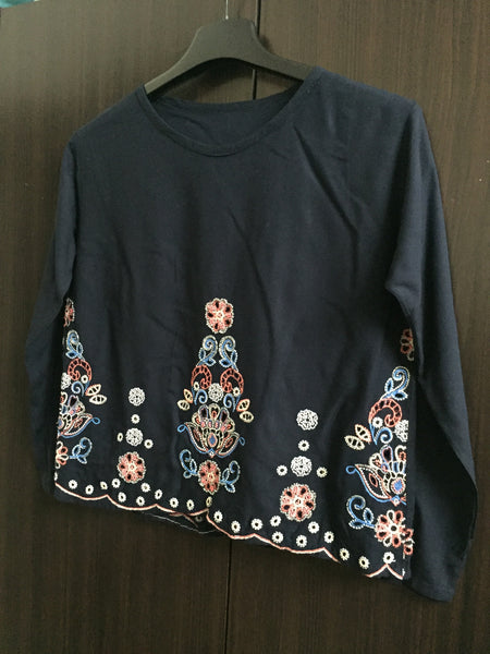 Fitted Darkest Blue Full sleeves Top - Cut Work