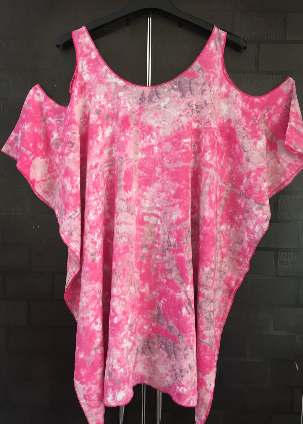 Pink Kaftan Style Top with Cold - Shoulder Cut