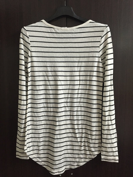 Black and White Striped Long Sleeved, Long Tee - #FTFY - For The Fun Years