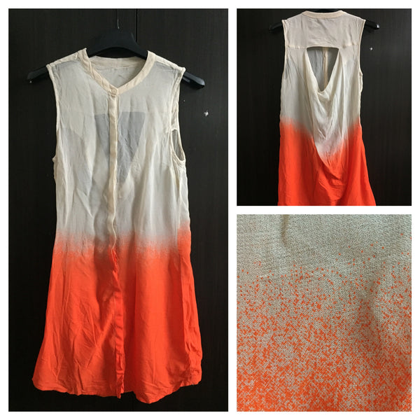 Sleeveless, Cut back - Orange and Cream Long Top
