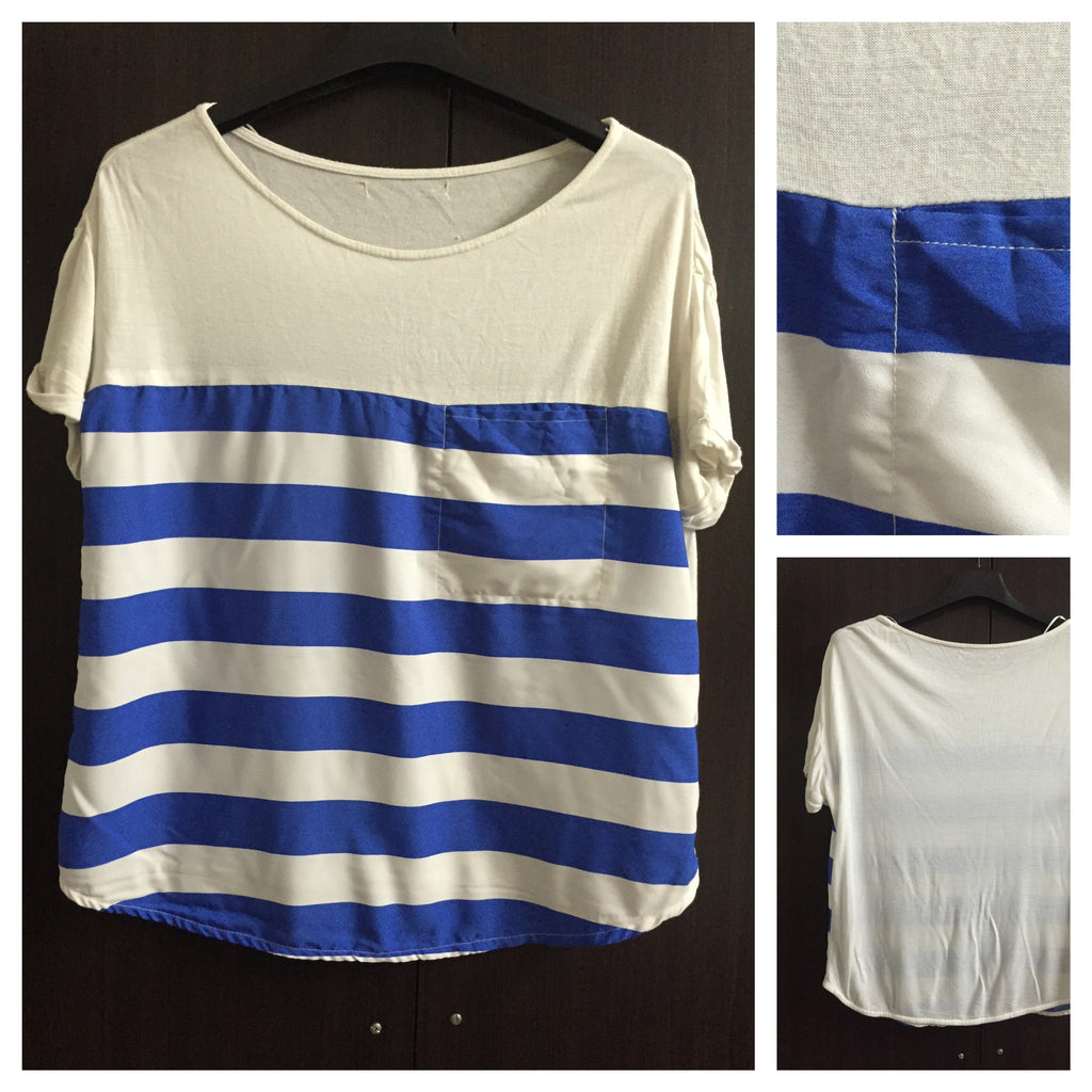 White and Blue Stripes Comfy Tee