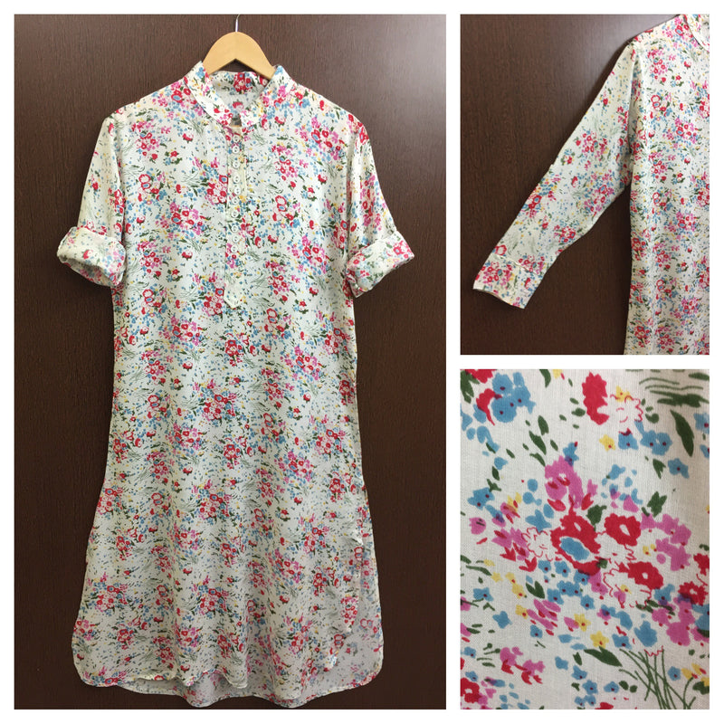 Bunch Of Red Pink Flowers On White Kurta
