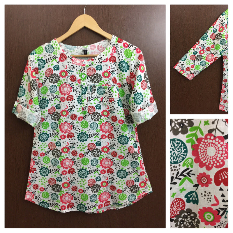 Green Butterfly & Pink Flowers Printed White Short Kurta