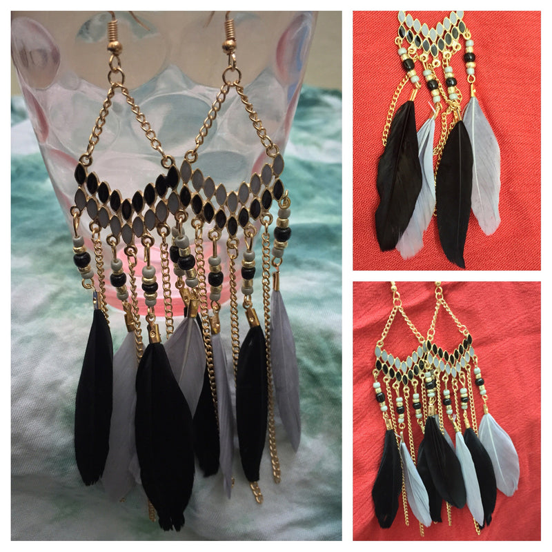 Black Feather - Elegent Yellow White Dangling Earring