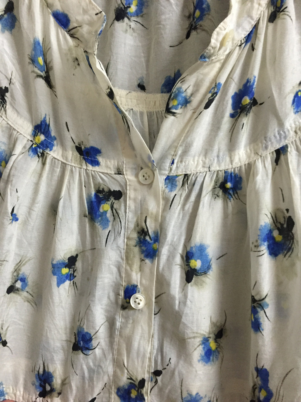Blue Flowers Cream Top - #FTFY - For The Fun Years