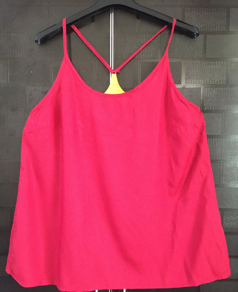 Golden Metal Backed, Stylish Deepest Pink Spaghetti Top