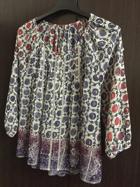 Purple and Blue spotted Grey Comfy Fit Top