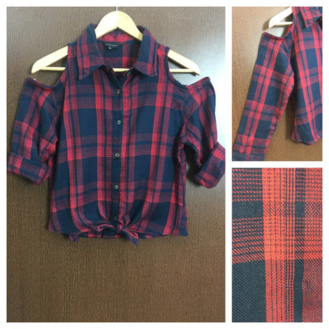 Little Warm - Checked Cold Shoulder Shirt with Front Knot - Navy Blue and Red