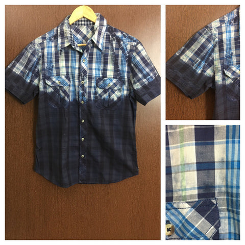 Acid Washed - Dark and Light Blue Check Shirt