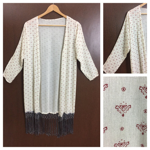 Tasseled - Little Red Prints on Cream Long Shrug