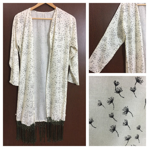 Tasseled - Little Black Prints on Cream Long Shrug