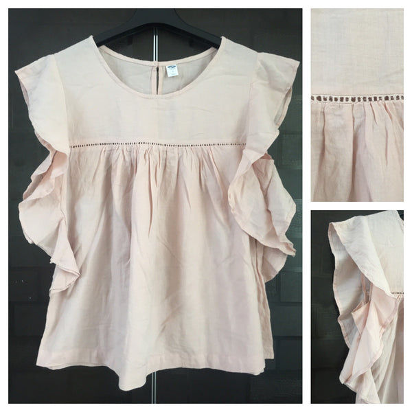 Light Brown Cotton Top with frilled Sleeves