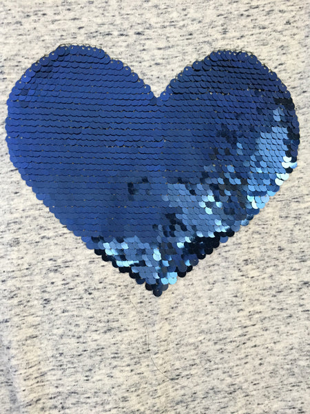 Sweet Heart - Blue Thread work on Grey Tee with Blue Sequin Heart.Quarter Sleeves