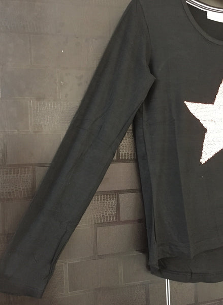 Star -  Darkest Black Dropping Shoulders Tee with Neon Pink Sequin Star