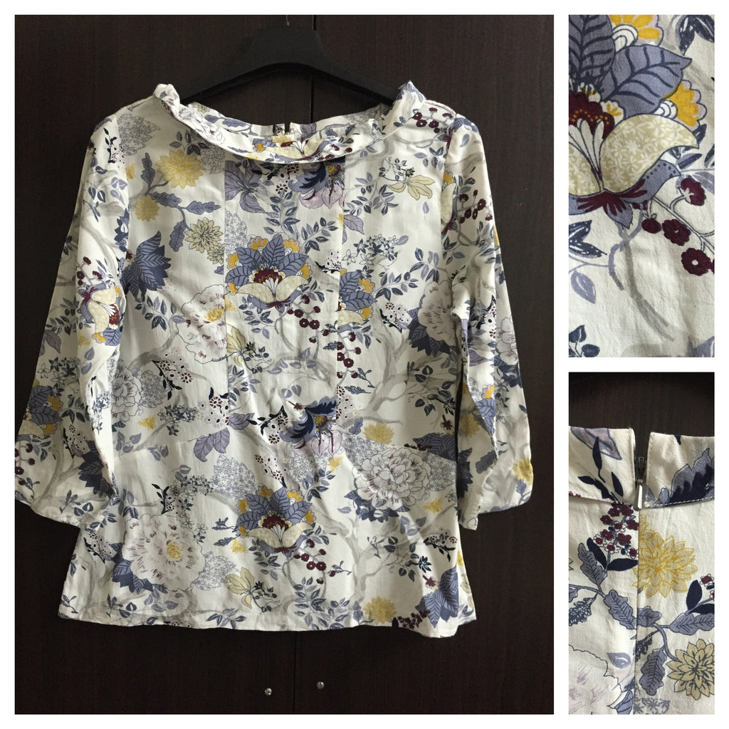 Grey Floral Closed Neck Top