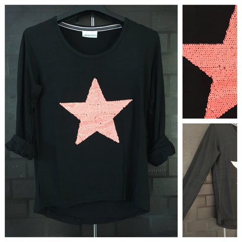 Star -  Darkest Black Tee with Neon Pink Sequin Star
