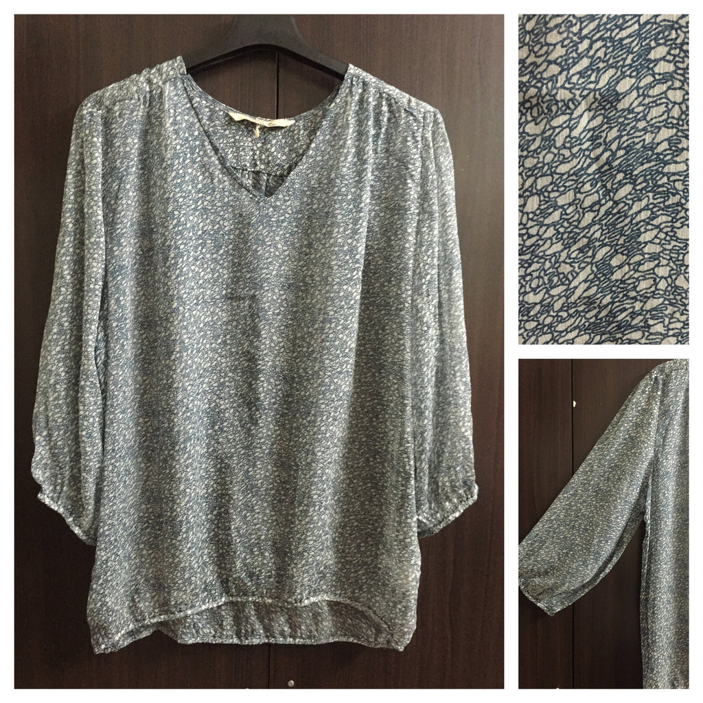 Grey and Navy Blue printed Casual Top
