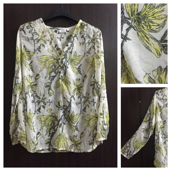 Yellow Grey Flowers Comfy Fit Top