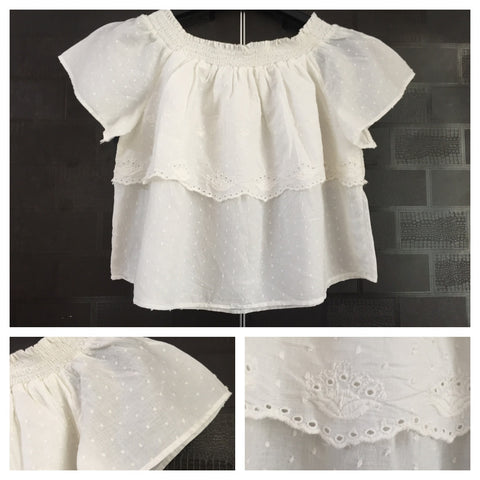 Off Shoulder - white embroidery - Short On Off Shoulder Top