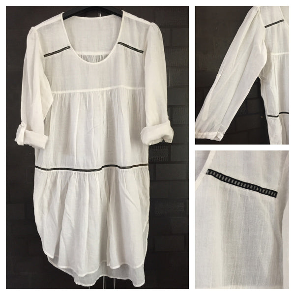 Casual and Light White Long Tunic with tiny black cut-work - Comfy Fit