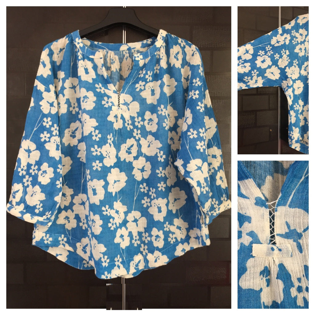 Blue and White Flowers, Casual wear Top with Stylish Sleeves and Drooping Shoulders. - #FTFY - For The Fun Years