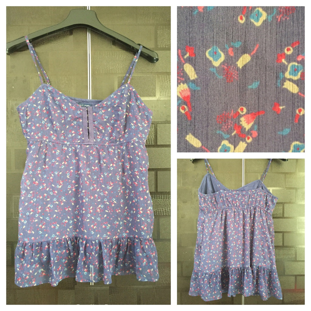 Pretty Purple Floral Spaghetti Top with cotton Lining
