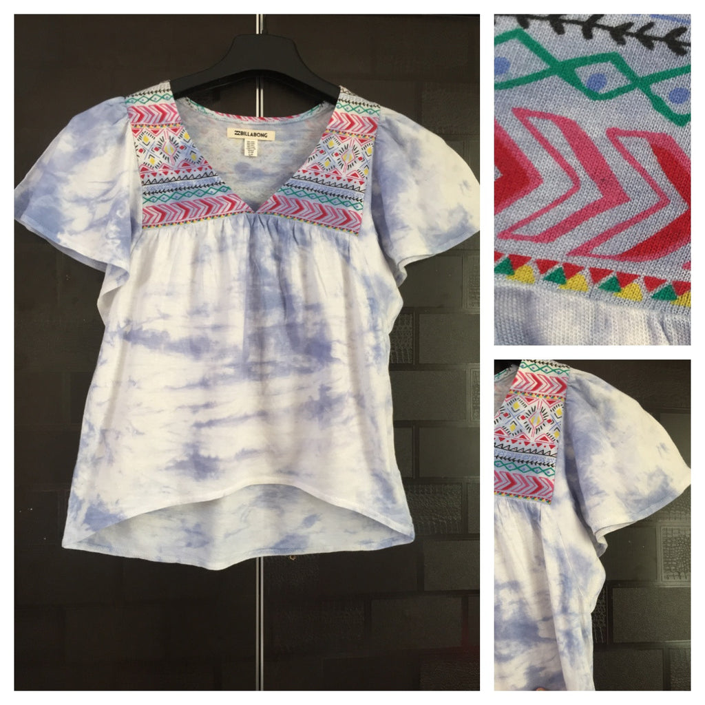Tribal Print on Shoulders - High - Low Short Top