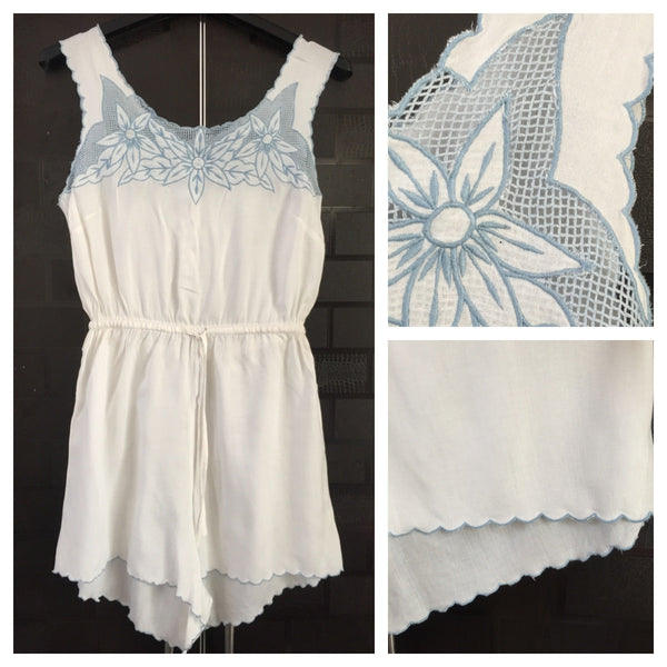 The White Jumpsuit with Light Blue thread work