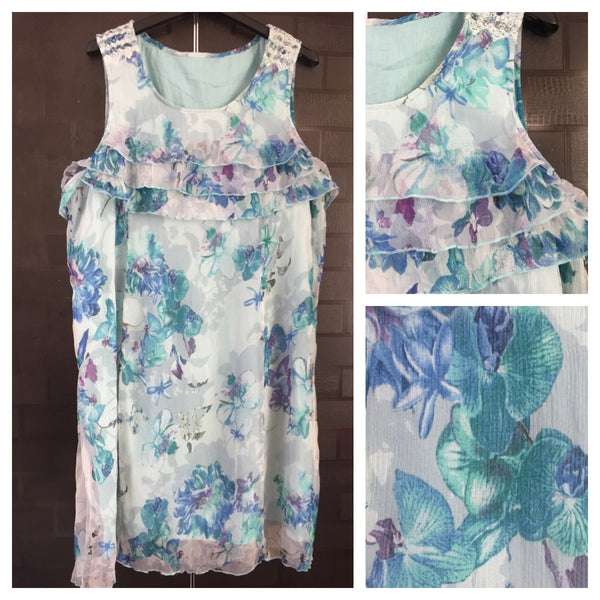 Pretty Blue Floral Sleeveless Dress.