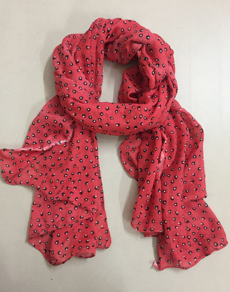 Rectangular Black and White Design on Pink Scarf