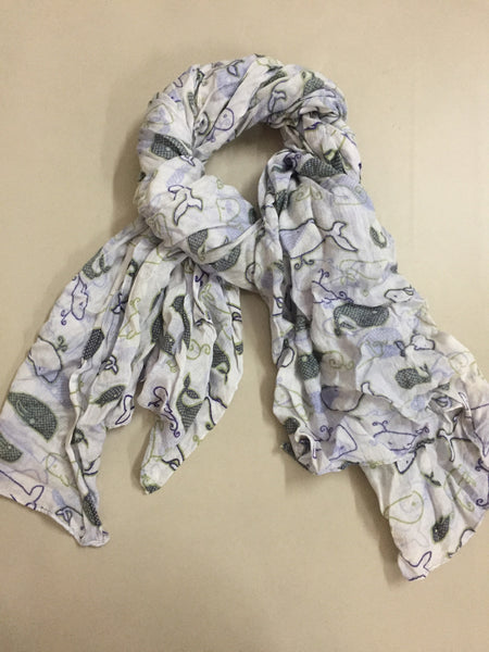 Rectangular - Green Blue Whales Scarf