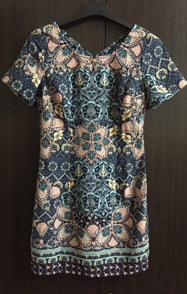 Stylish Knee Length Floral Blue Dress