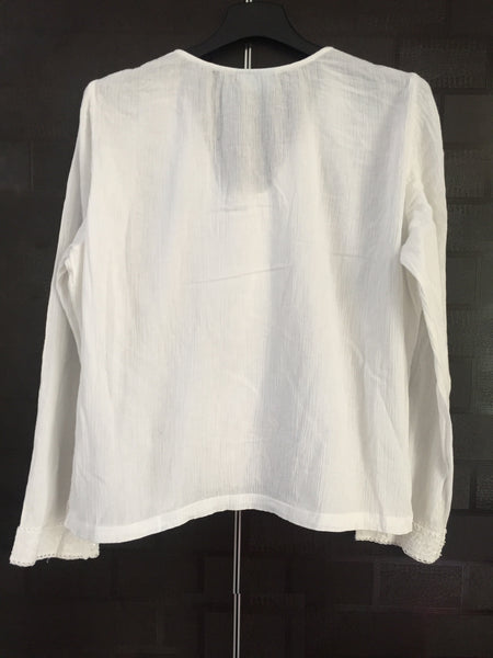 Simple White Top with Shiny White sequin Panel in Front