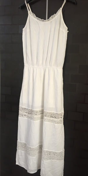Elegant White Long Spaghetti Dress with lace details