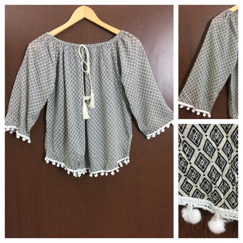 Little Pom Poms - Black Rhombus Prints on Cream On - Off Shoulder Top