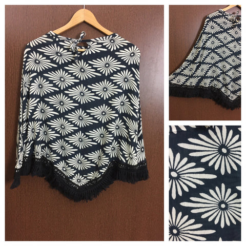 Black Tasseled - White Big Flowers on Black Poncho Top